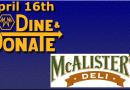 April 16th Dine & Donate